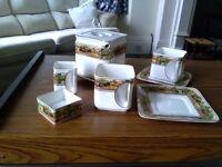 Art Deco Square Teapot, Milk Jug, Sugar Bowl and 2 cups and saucers