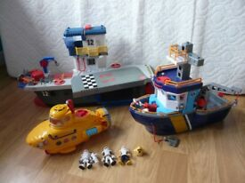 Fisher Price IMAGINEXT toys bundle Ocean Boat Yellow Submarine Sky Racer Air