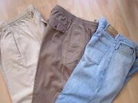 TROUSERS/JEANS (£3) & JACKETS (£4).I have Sizes 32 and Sizes 38.Used but in In excellent condition.