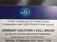 Golovkin v Brook Boxing Tickets at the O2 arena, Lower Tier, Block 106, Row T
