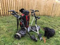 PAIR OF POWER CADDY ELECTRIC GOLF TROLLEYS, WITH BATTERY'S AND CHARGERS