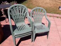 4 Green Plastic Garden Chairs