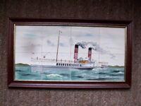 """Ceramic painting 8 Tile Framed Picture Steamer """" GLEN SANNOX """""""