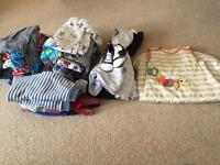 Bundle of baby boy clothes age 3-6 months plus a sleeping bag.