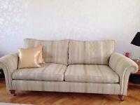 Duresta sofa's 1 grand size and the 2 sofa medium. Colour Sandstone and Gold stripe, new