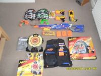 Nerf Bundle of Guns, Target, Wii Game Disc and Hide Out/Combat Shelter.