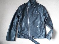 Mens Medium Black Leather Jacket T-Birds