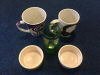 2 large mugs + 1 glass + 2 glass/ceramic containers_£3 for ALL