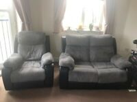 Recliner 2 Seater Sofa and Recliner Armchair Black Leather and Grey Velvet