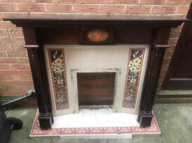 Wood and tile used fireplace