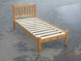 Solid wood single bed frame, mattress optional