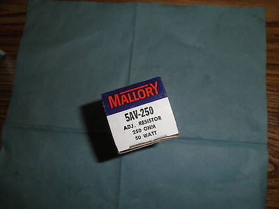 Mallory Model 5av-250 Adjustable Resistor. Qty. 2 New Old Stock