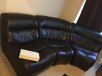Gorgeous modern dark brown leather sofa suite