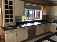 Hand painted kitchen kitchen units and marble woorktops