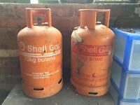2x Shell (FloGas) 13kg butane gas bottles