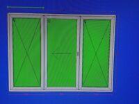2x SETS 3x pane patio doors, white upvc, middle door sliding