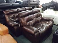 Brown leather 3 and 2 recliner sofas