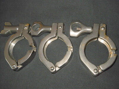 Lot Of 3 Custom Stainless Steel 1-12 Single Hinge Sanitary Clamps W Notch
