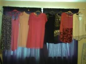 Womens, tops, dresses, two coats, size approx 20-22