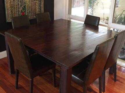 Jarrah Dining Table and 6 Chairs Bonbeach Kingston Area Preview