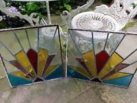 Vintage stained glass panels