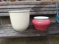 2 large Plant pots;1 Cream & 1 Dusky pink & greenish