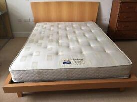 Bed king size wooden frame including mattress