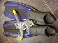 Extra large professional snorkel, mask and fins flippers size 46/47 (UK 12.5)