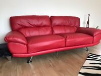 Red leather large sofa 3 seater