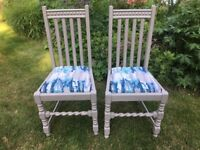 Two Hand Painted Vintage Oak Chairs with Reupholstered Seats