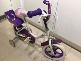 "Raleigh Starlight Girls Bike - 12"" Wheels with stabilisers in great condition"