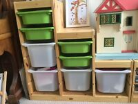 Ikea Trofast pine storage unit with plastic boxes