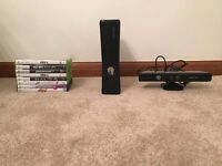 Xbox 360 with 8 Games, Kinect Sensor and 2 controllers