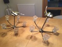 Pair of Ceiling Lights c/w 5 Lights (ex Pagazzi), antique brass finish with clear glass shades