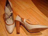 French Connection high heels ladies shoes size UK 7 40 nude leather beige cream strap bridal wedding