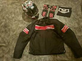 Motorbike helmet, jacket and gloves