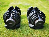 BRAND NEW - 2x Adjustable Dumbbells 5KG - 40KG ( Like Bowflex)