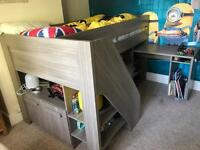 Children's high sleeper bed with desk and draws by Gami