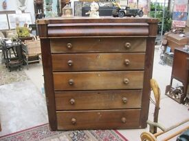 VINTAGE LARGE TALL CHEST OF DRAWERS. 6 DRAWERS - TALLBOY. IDEAL PAINTED. VIEW/DELIVERY AVAILABLE