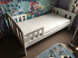 John Lewis Toddler Bed - Solid and in great condition - with mattress and machine washable cover