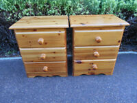 Two solid pine bedside cabinets