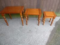 Nest Of Three Wood Tables Delivery Available