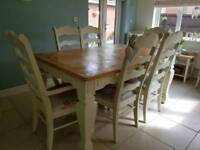 Large Shabby Chic French farmhouse country table and 6 chairs