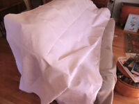 Table Cloths. Damask. Quality vintage. 9 large white varied sizes. some blemishes.