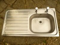 Kitchen sink, stainless steel, used