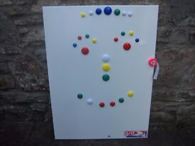 Child's play/notice board - metallic with coloured magnetic button