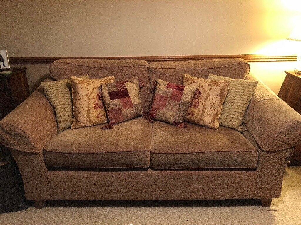 M S Three Seater Abbey Sofa Gold Chenille Fabric In Daventry