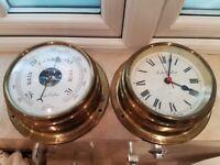 Vintage Foster Callear Marine Ships Barometer & Clock Bulkhead Nautical Brass