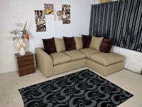 EXPRESS DELIVERY UK   BRAND NEW DYLAN CORNER SOFA CANE FABRIC   SPRING BASE   1 YEAR WARRANTY