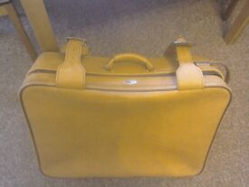 Vintage 1970's CUSTOM leather suitcase.Keys good condition